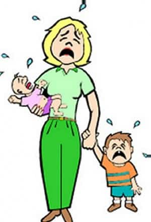 Mother Kids crying