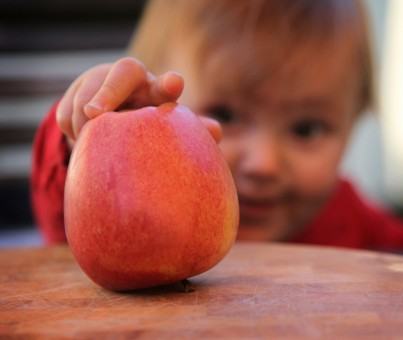 niño con fruta