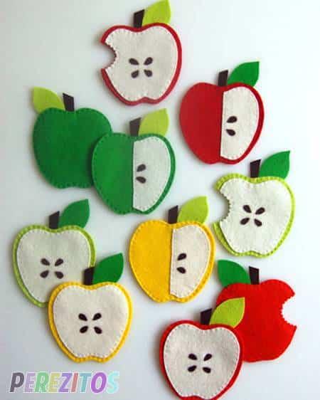 dormitorio infantil decorado con manzanas de fieltro