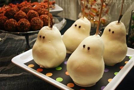 Receta para Halloween: Peras en forma de fantasma